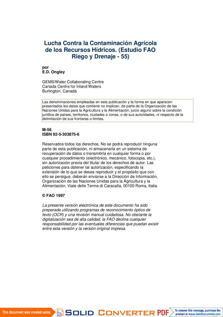 1997. Lucha contra la contaminación agrícola de los recursos hídricos. FAO
