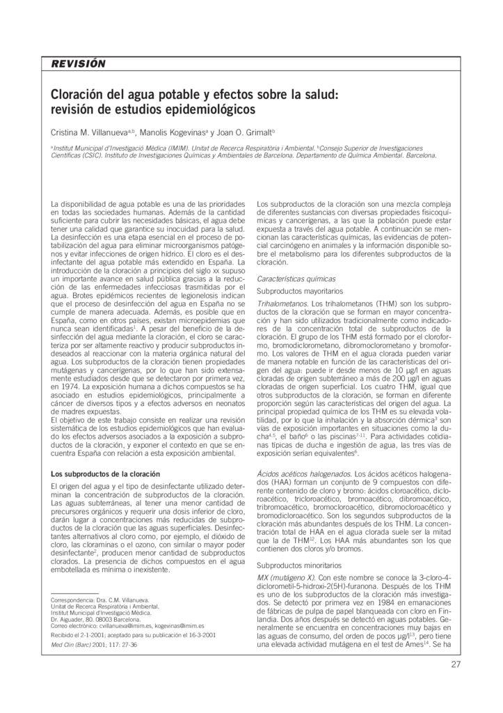 2001. Cloración del agua potable y efectos sobre la salud, revisión de estudios epidemiológicos