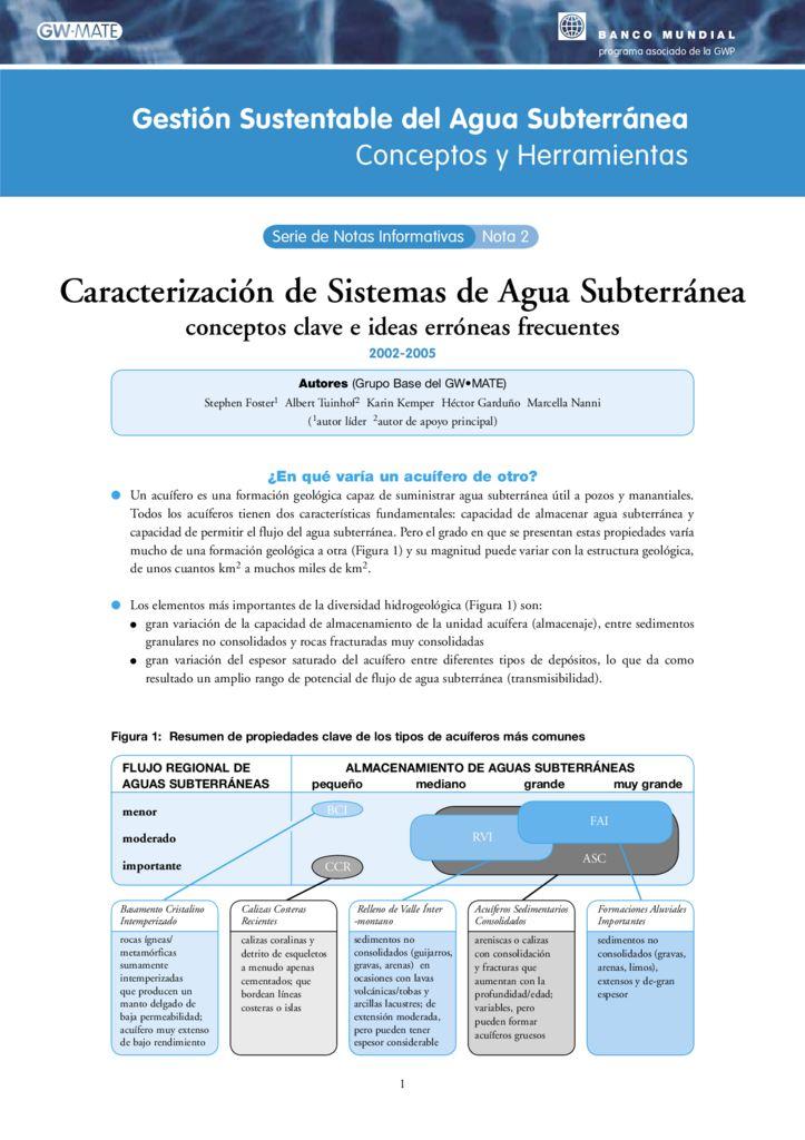 2002 – 2005. Caracterización de sistemas de agua subterránea. Banco Mundial