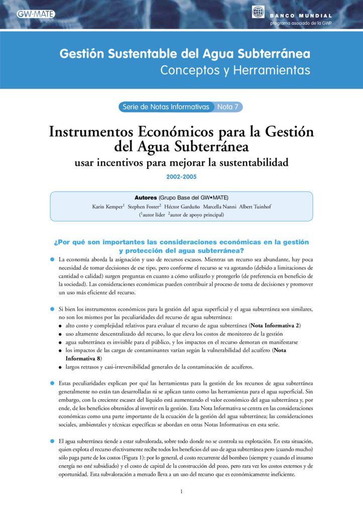 2002 – 2005. Instrumentos Económicos para la Gestión del Agua Subterránea. Banco Mundial
