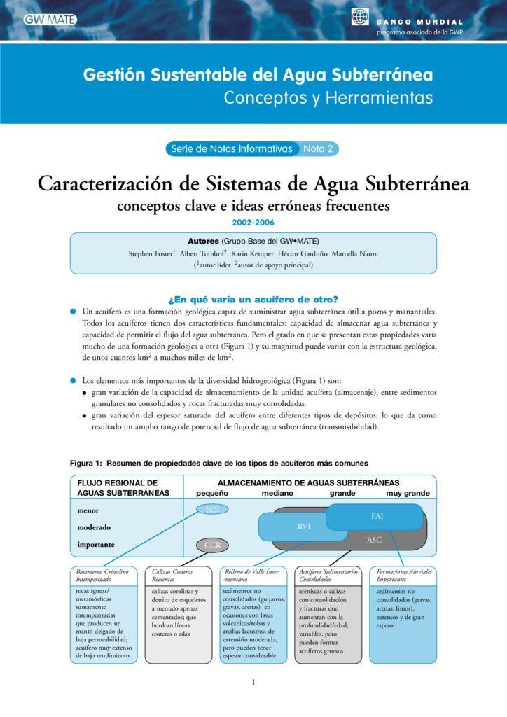 2002 2006. Gestión sustentable del agua subterránea. Conceptos y herramientas, Banco Mundial