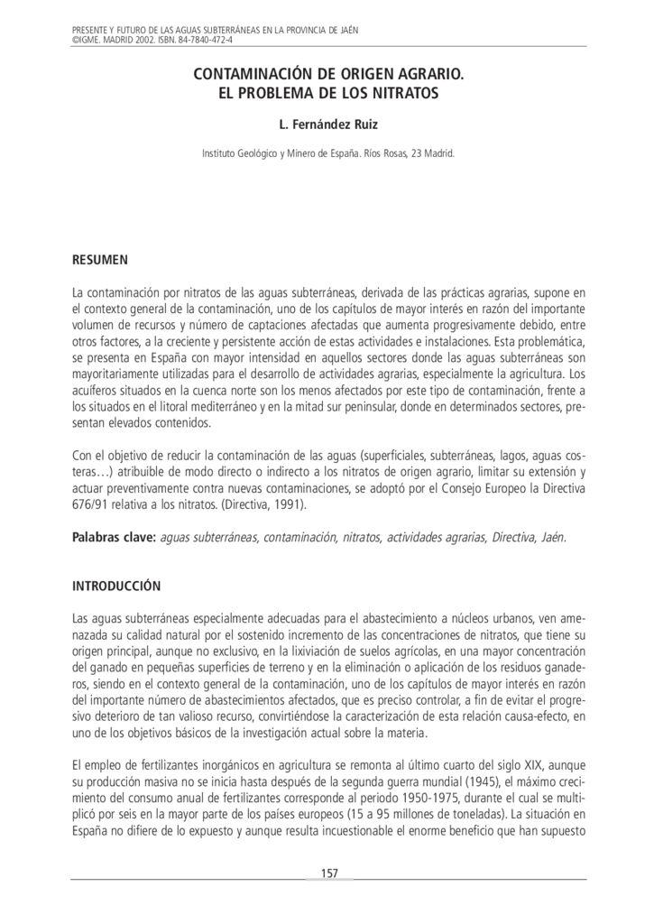 2002. Contaminación de origen agrario, el problema de los nitratos. Instituto Geológico y Minero de España