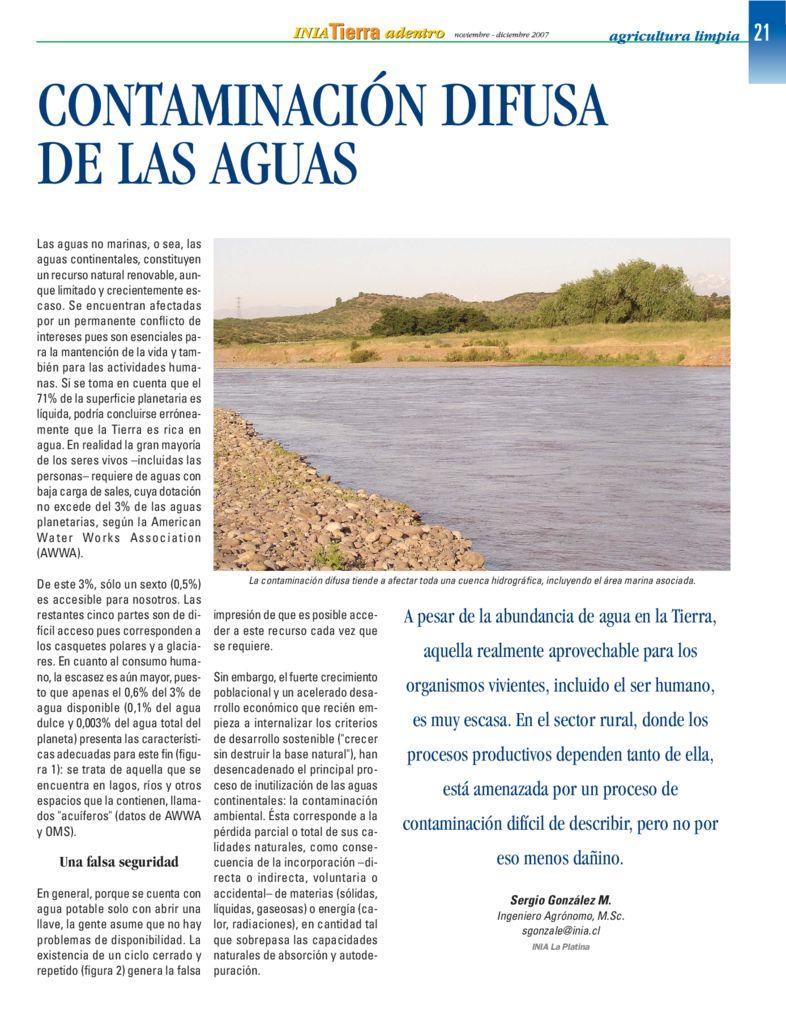 2007. Contaminación difusa de las aguas