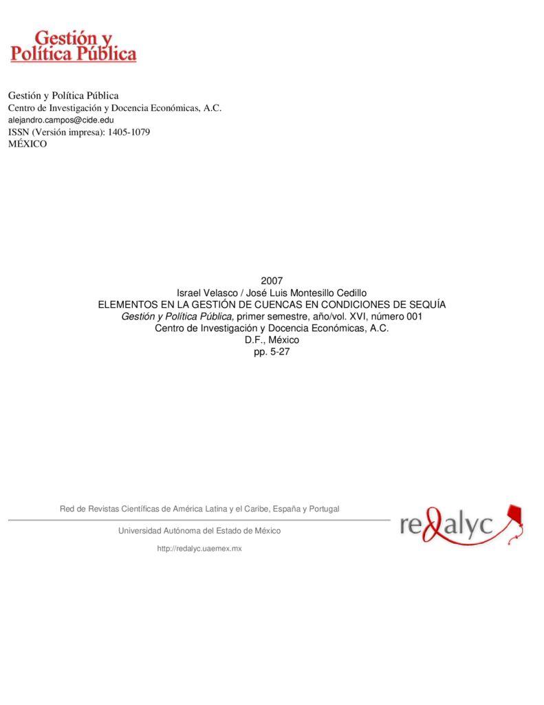 2007. Elementos en la gestión de cuencas en condiciones de sequía