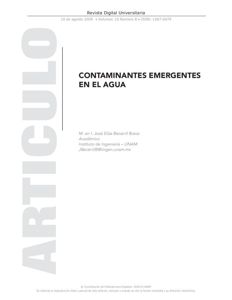 2009. Contaminantes emergentes en el agua. UNAM