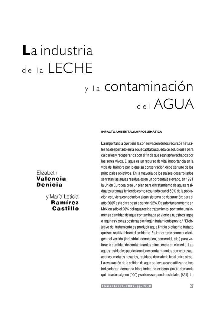 2009. La industria de la leche y la contaminación del agua