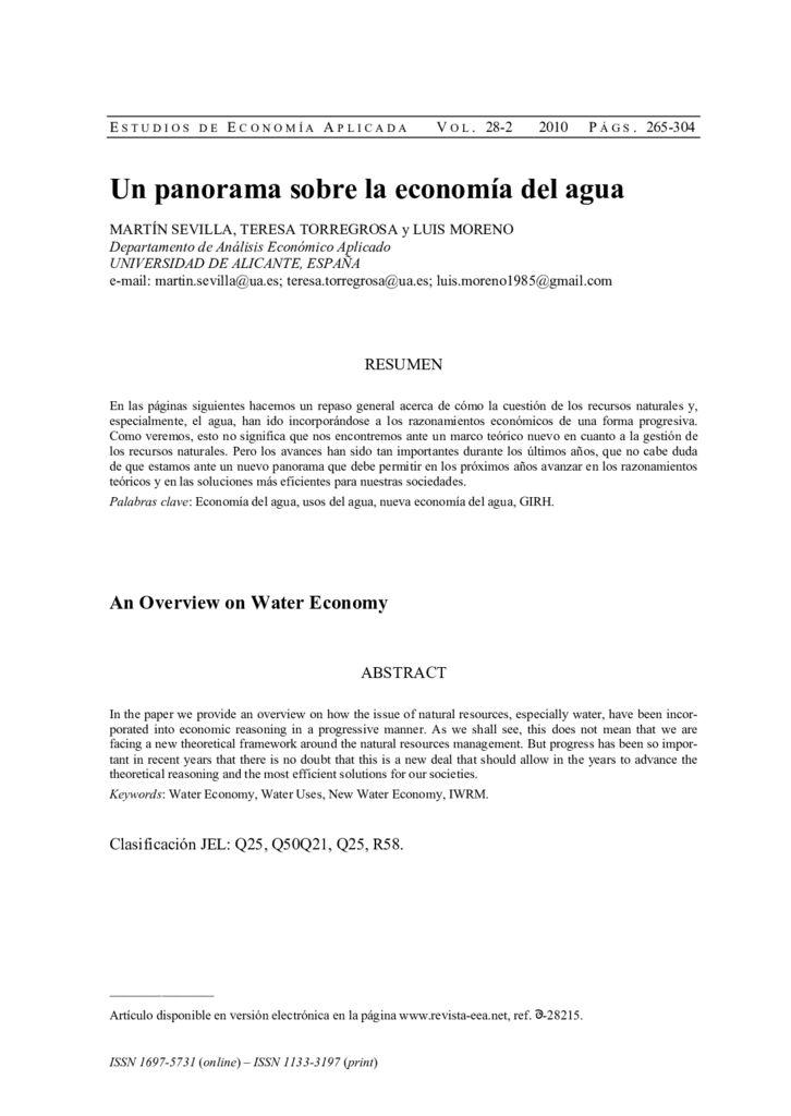 2010. Un panorama sobre la economía del agua.