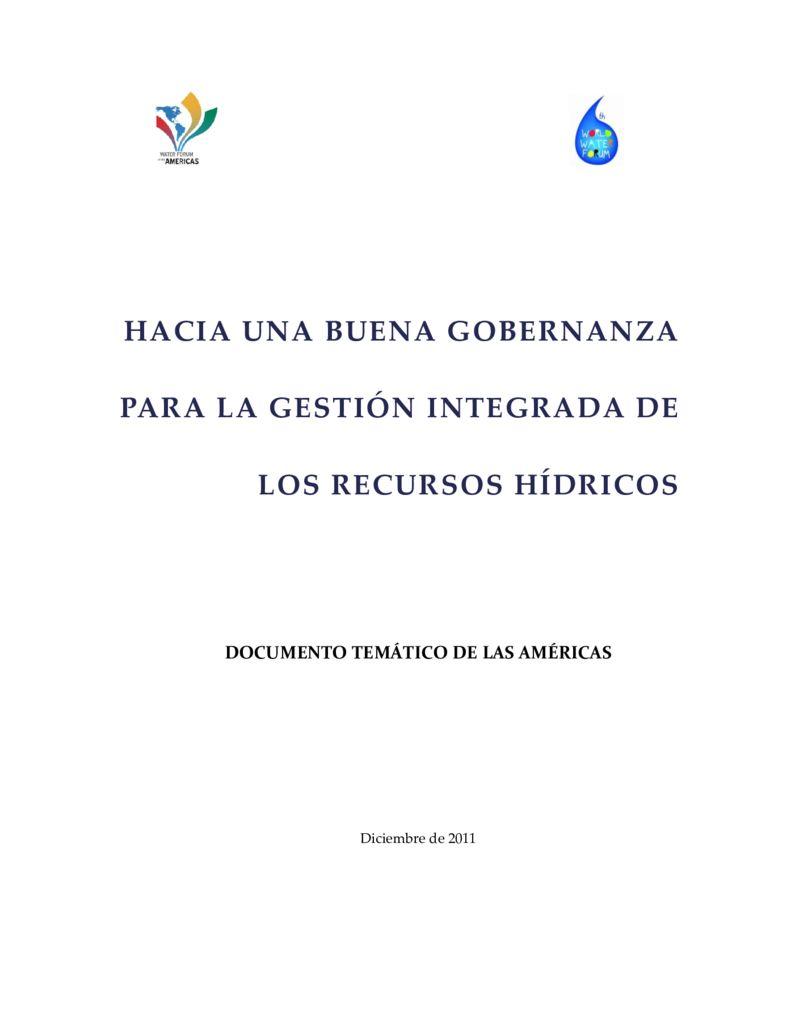 2011. Hacia una buena gobernanza para la GIRH en Las Américas