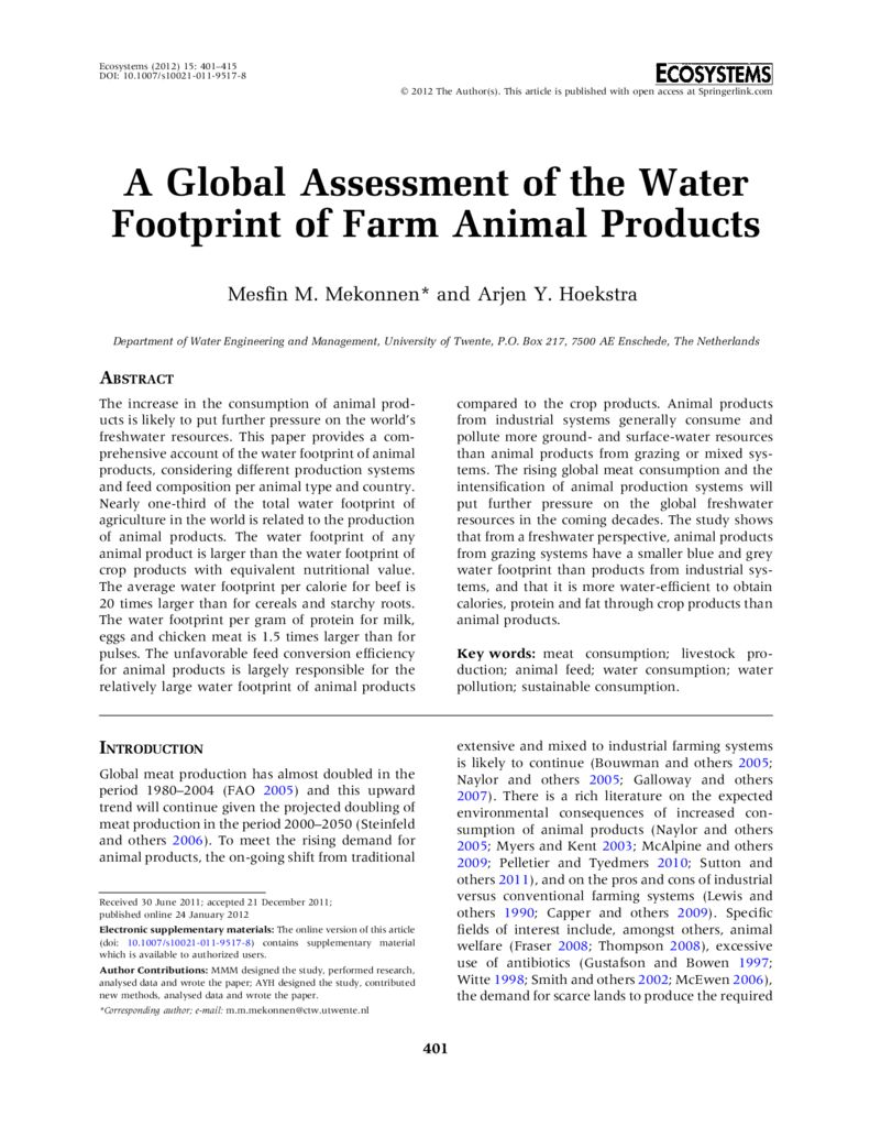 2012. A Global Assessment of the water footprint of farm animal products. WFN