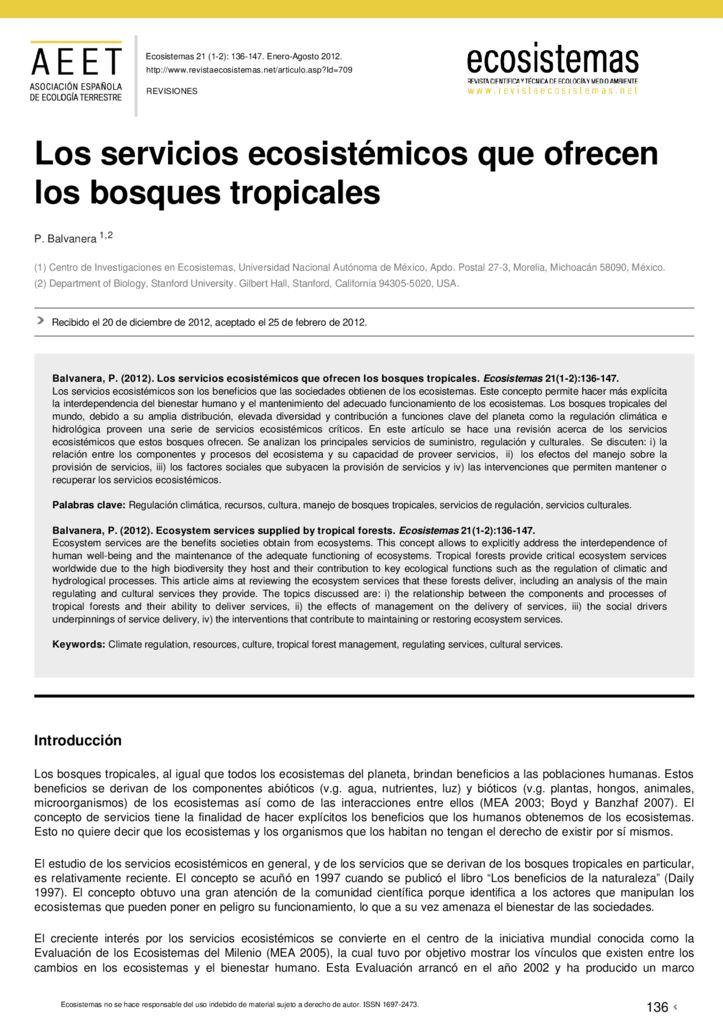2012. Los servicios ecosistémicos que ofrecen los bosques tropicales. AEET