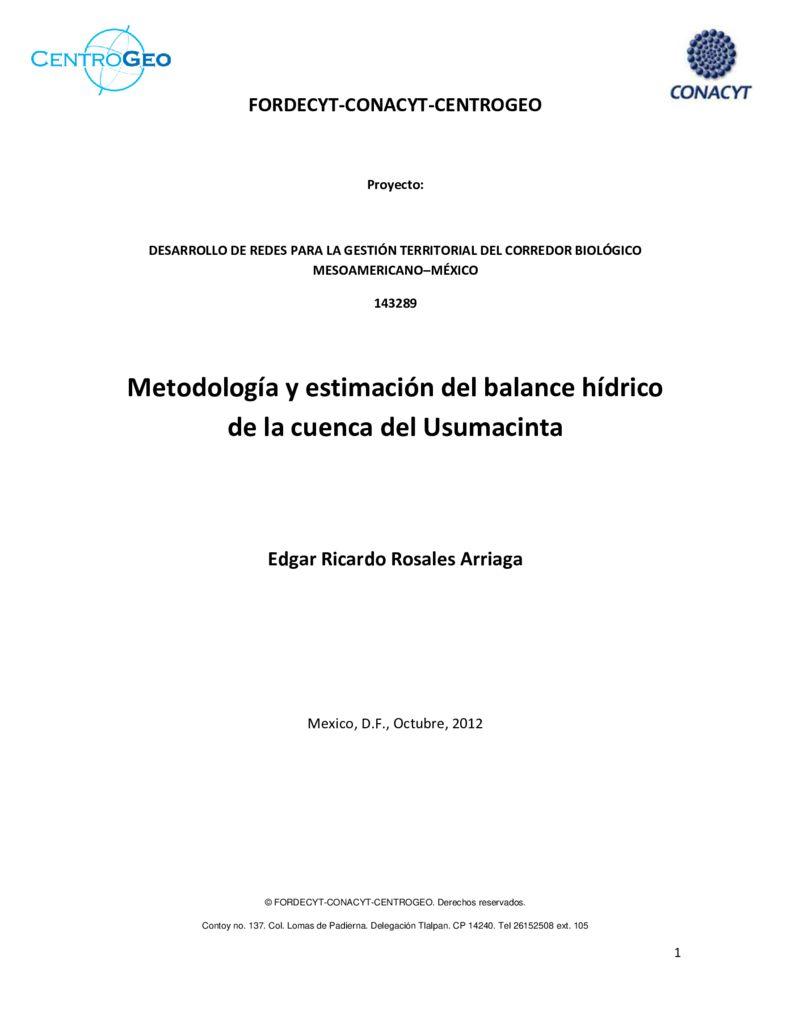 2012. Metodología y estimación del balance hídrico de la cuenca del Usumacinta