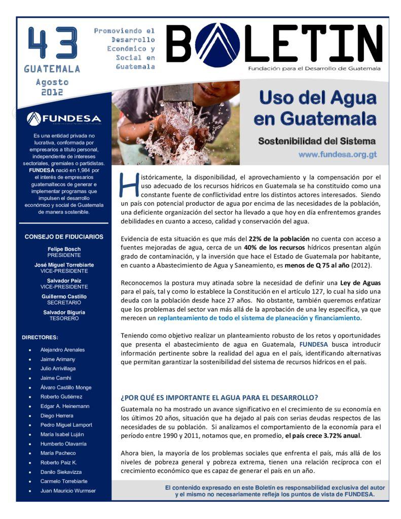 2012. Uso del Agua en Guatemala. Boletin. FUNDESA