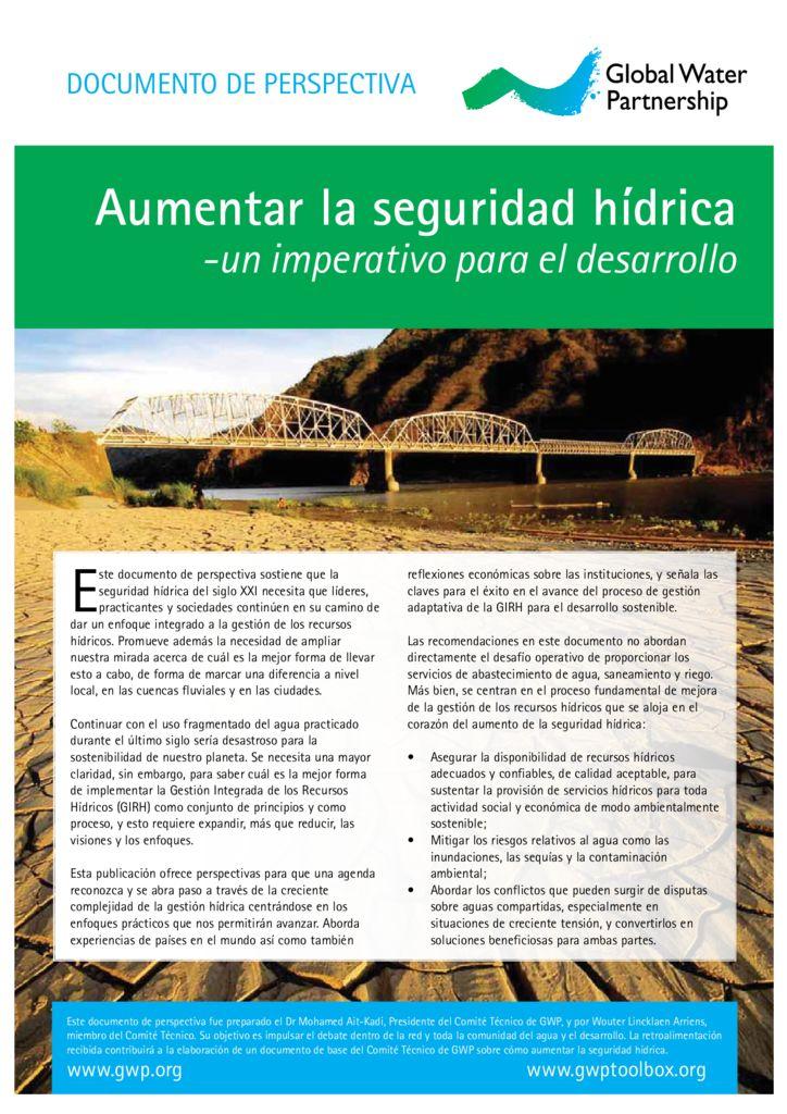 2013. Aumentar la seguridad hídrica – un imperativo para el desarrollo. GWP