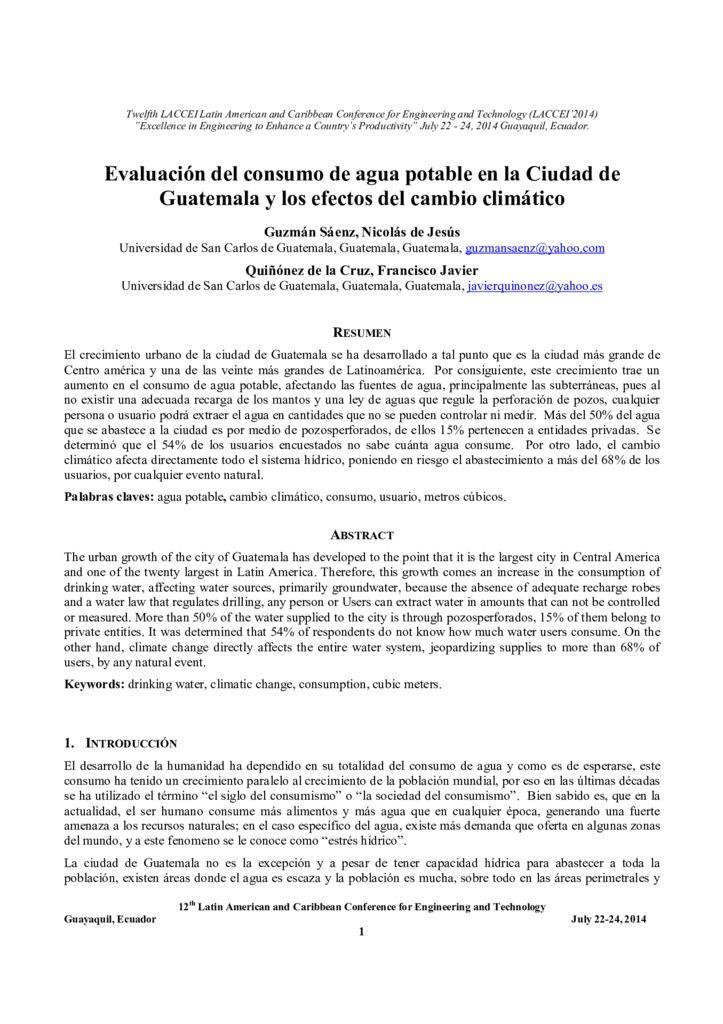 2014. Evaluación del consumo del agua en Guatemala y sus efectos al cambio climático