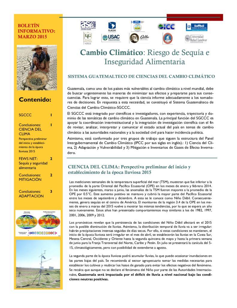 2015. Cambio climático, riesgo de sequía e inseguridad alimentaria. CEAB-UVG