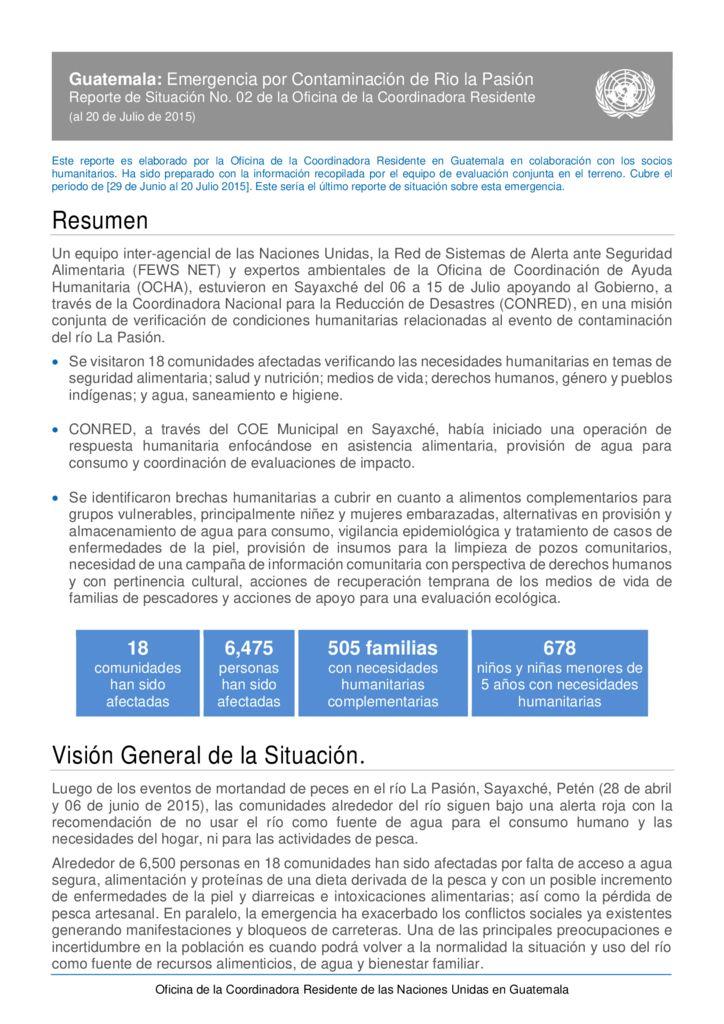 2015. Emergencia por contaminación de Río la Pasión. UNESCO
