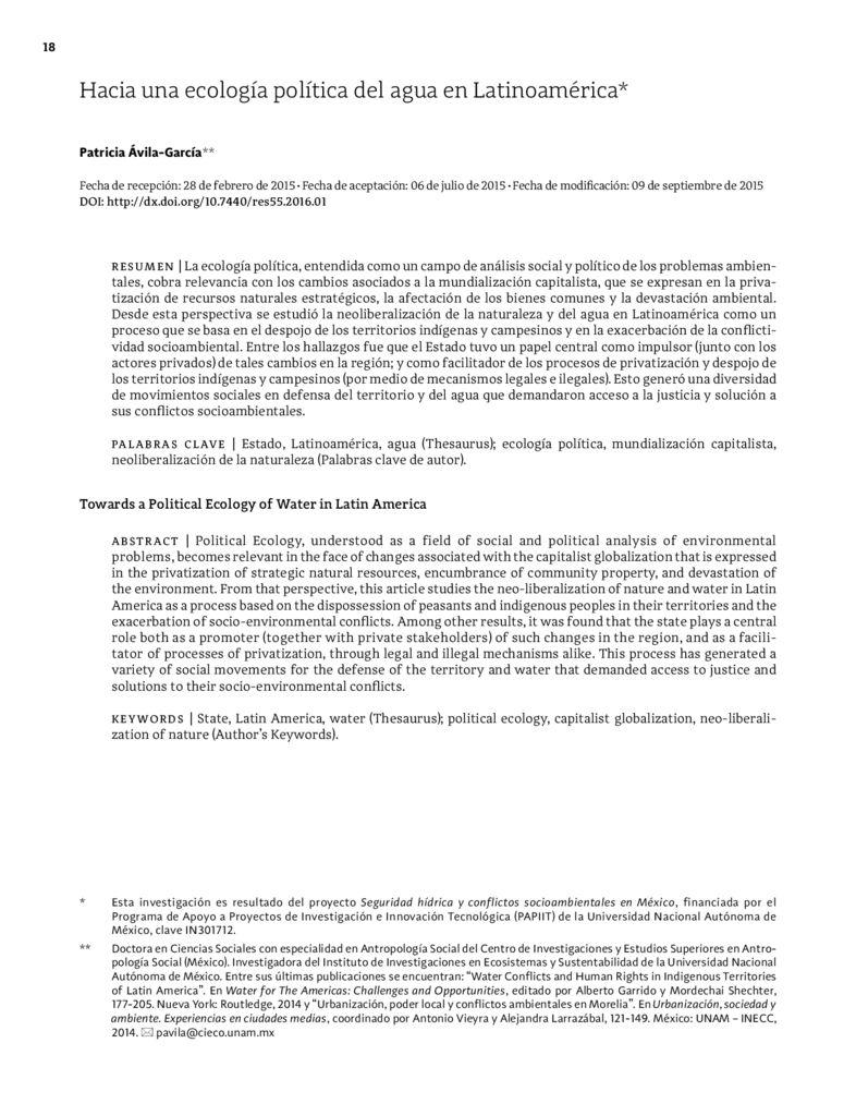 2015. Hacia una ecología política del agua en Latinoamérica