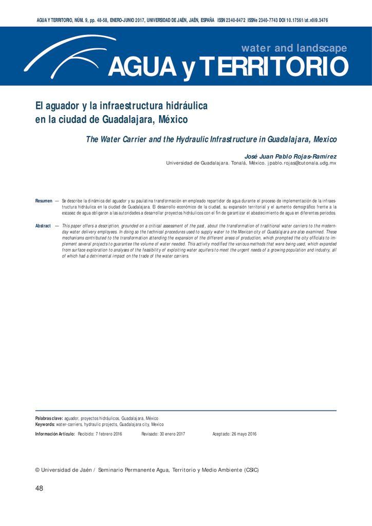 2017. El aguador y la infraestructura hidráulica en la ciudad de Guadalajara México