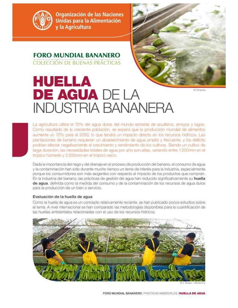 2017. Huella de agua de la Industria bananera