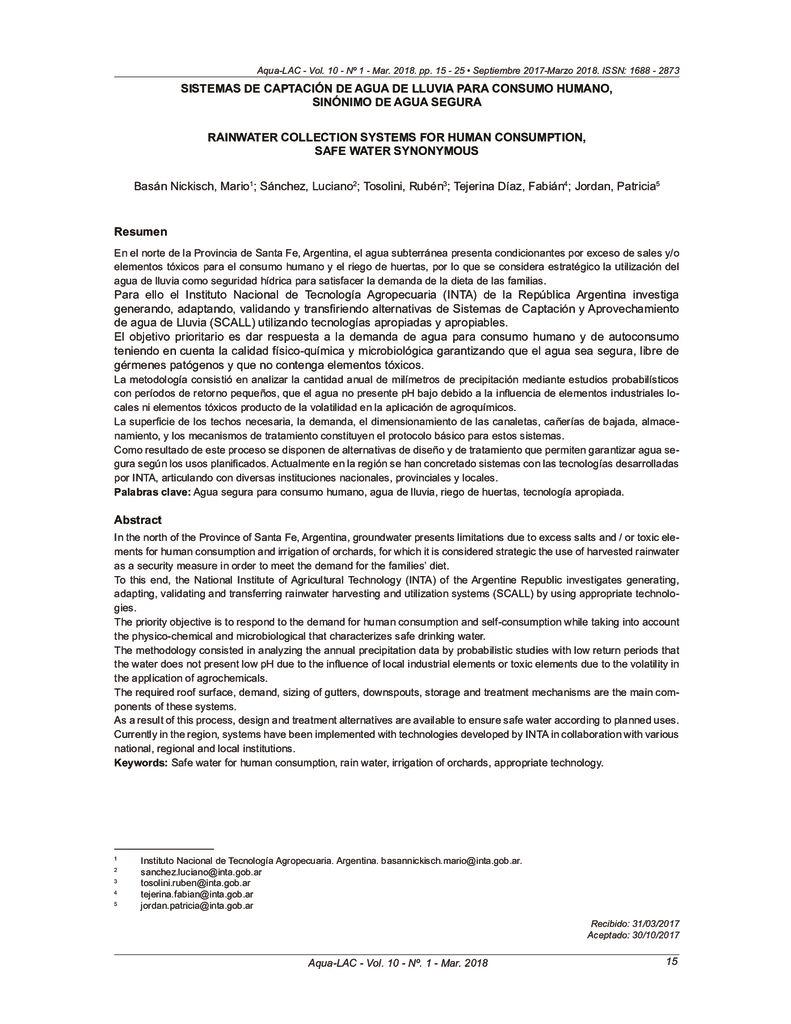 2018. Sistemas de Captacion de Lluvia para consumo humano. Sinónimo de Agua Segura. Argentina