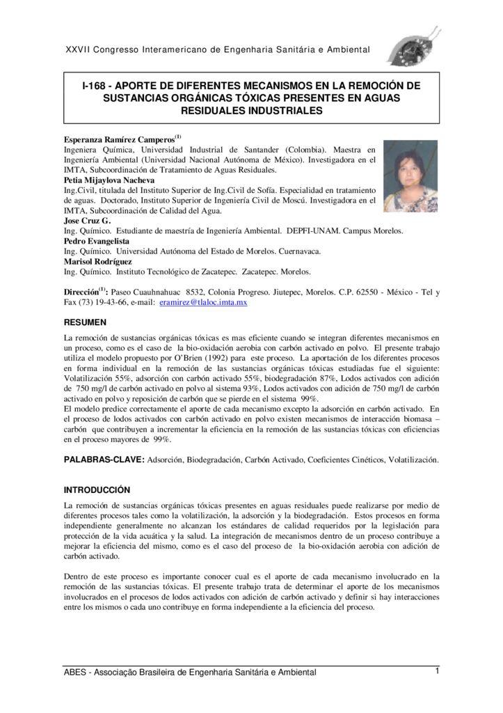SF. Aporte de diferentes mecanismos en la remoción de sustancias orgánicas tóxicas presentes en aguas residuales industriales