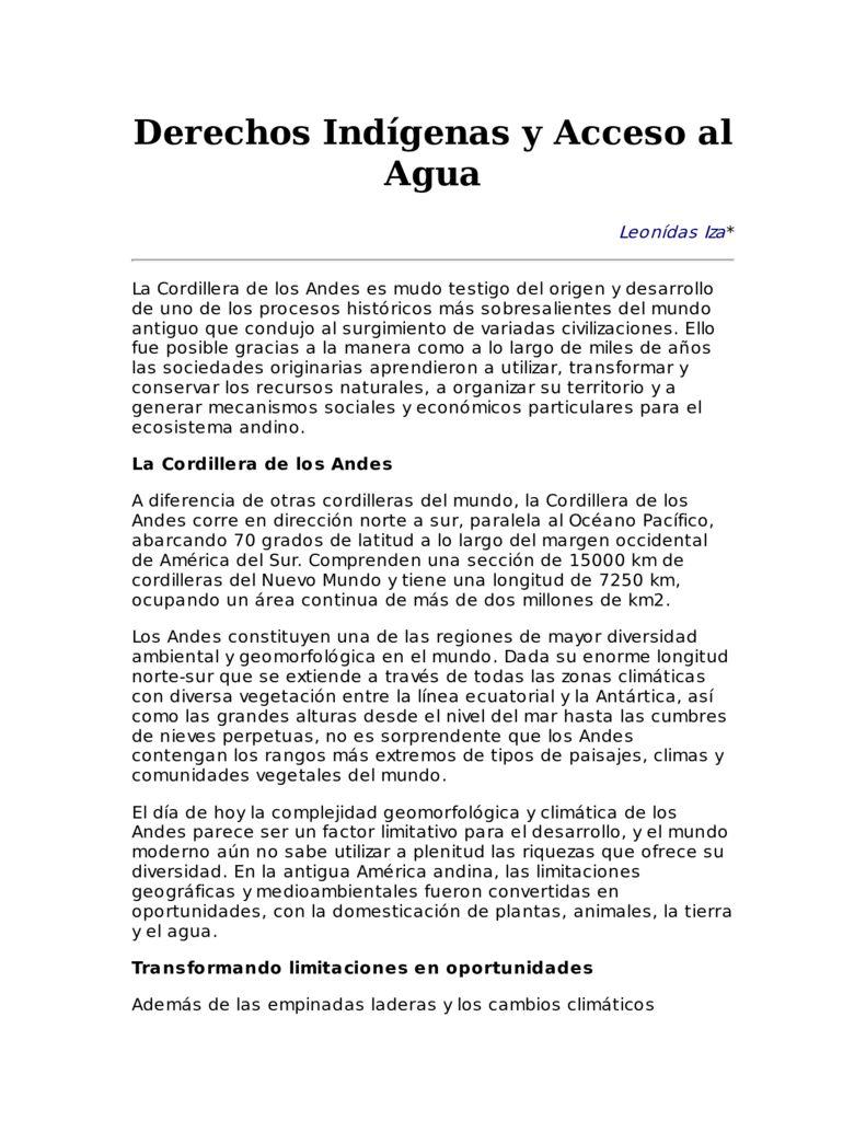 SF. Derechos indígenas y acceso al agua
