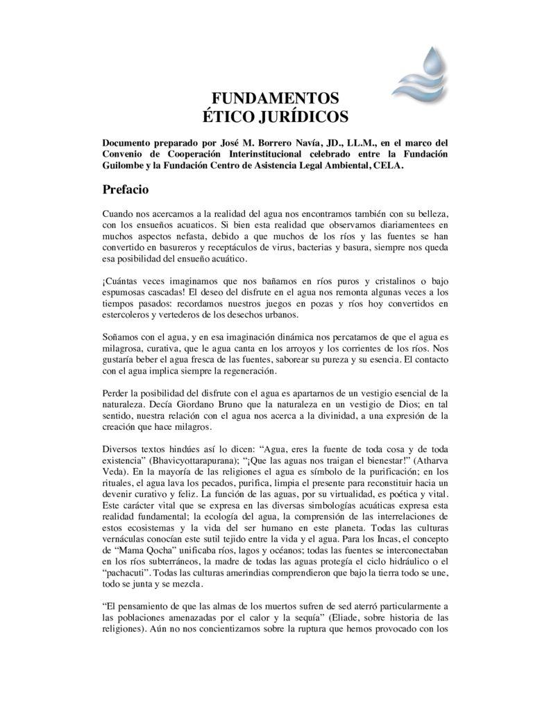SF. Fundamentos Ético Jurídico del Agua. Tribunal Latinoamericano del Agua