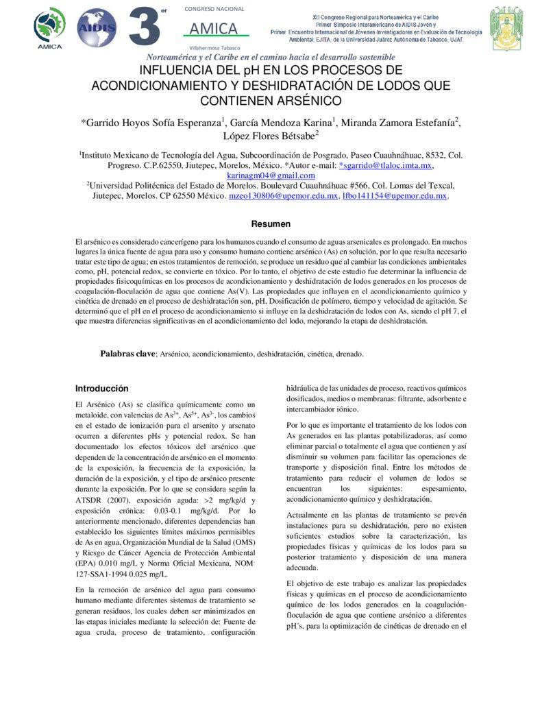 SF. Influencia del pH en los procesos de acondicionamiento y deshidratación de lodos que contienen arsénico