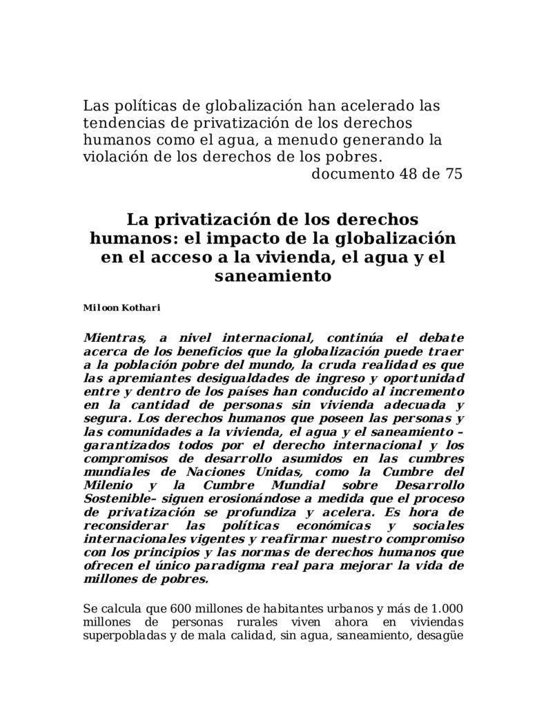 SF. La privatización de los derechos humanos, el impacto de la globalización en el acceso a la vivienda, el agua y el saneamiento