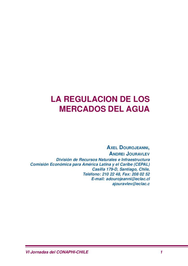 SF. La regulación de los mercados del agua