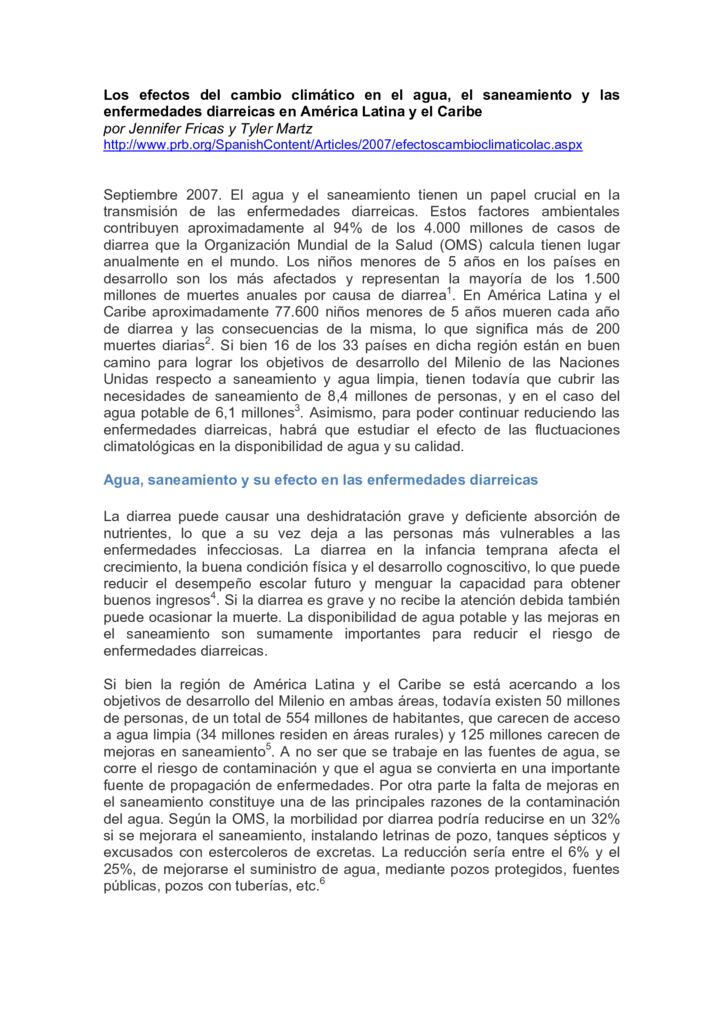 SF. Los efectos del cambio climático en el agua, el saneamiento y las enfermedades diarreicas en América Latina y el Caribe