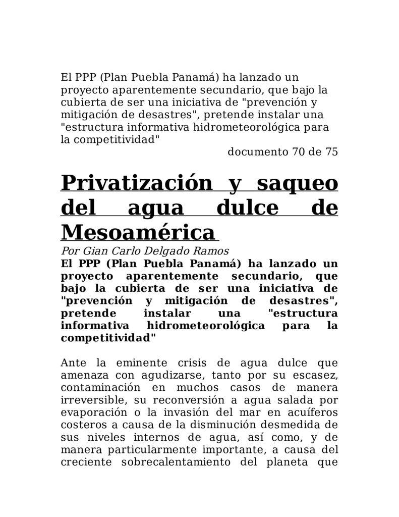 SF. Privatización y saqueo del agua dulce de Mesoamérica