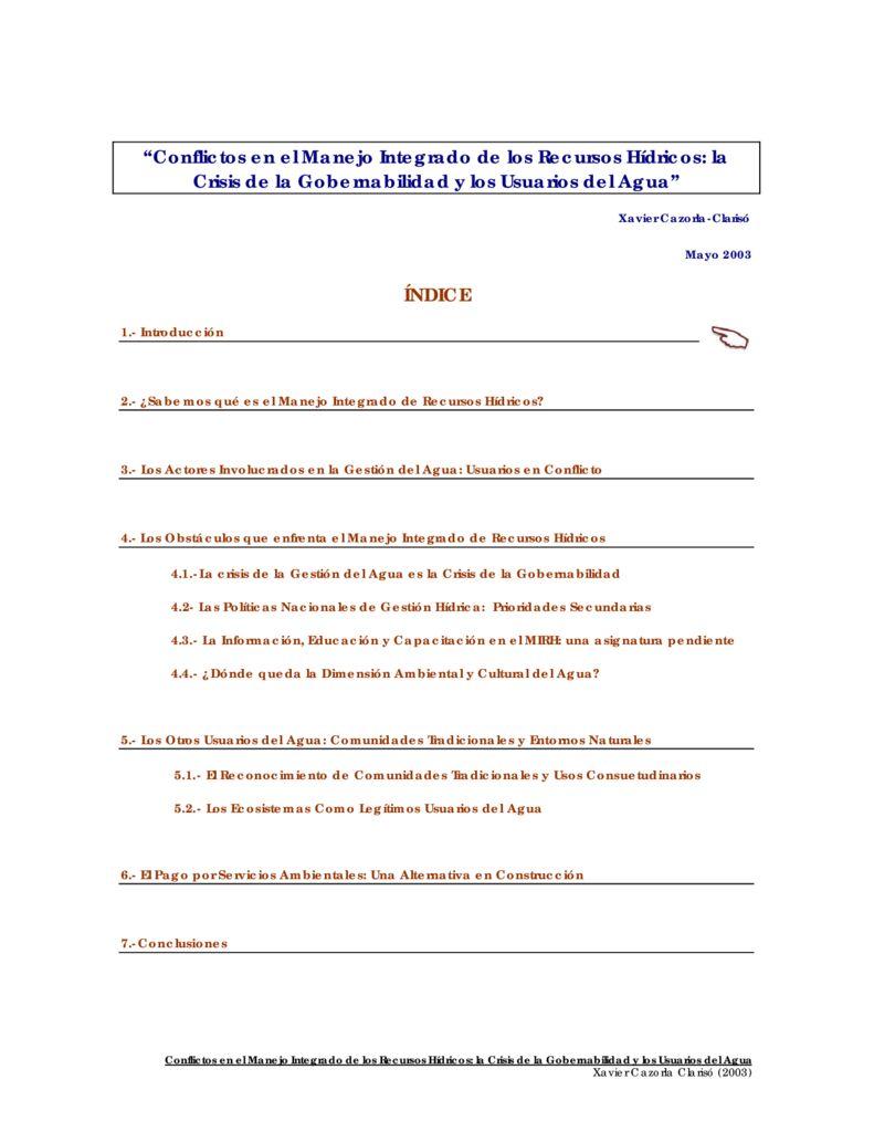 2003. Conflictos en el manejo integrado de los recursos hídricos la Crisis de la Gobernabilidad y los Usuarios del Agua