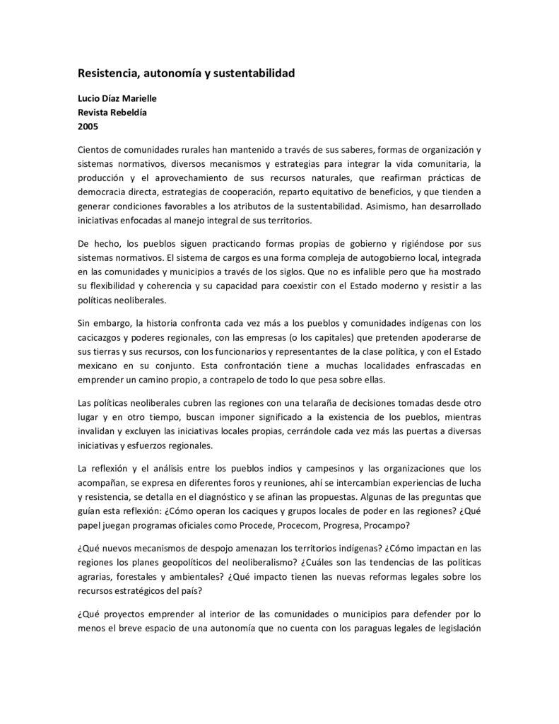2005. Resistencia, autonomía y sustentabilidad