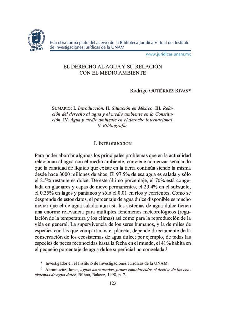 SF. El derecho al agua y su relación con el medio ambiente. UNAM