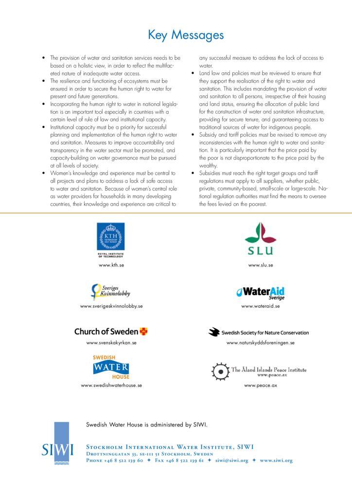 SF. El derecho humano al agua y al saneamiento, asegurar el acceso al agua para las necesidades básicas