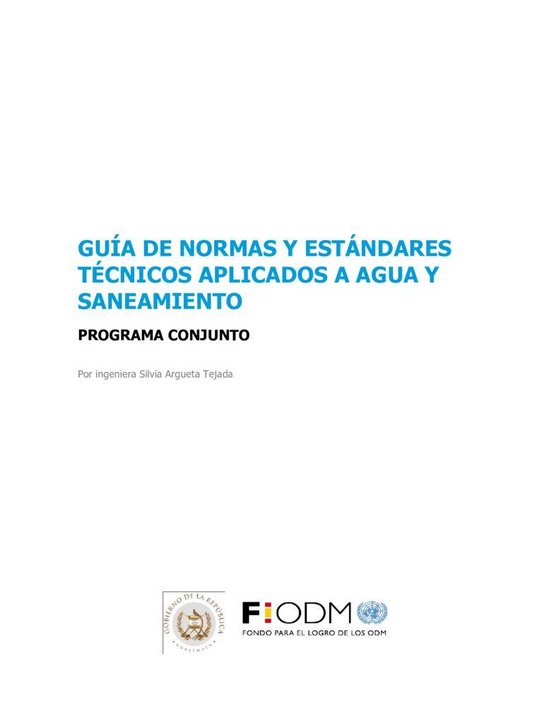 SF. Guías de normas y estándares técnicos aplicados a agua y saneamiento