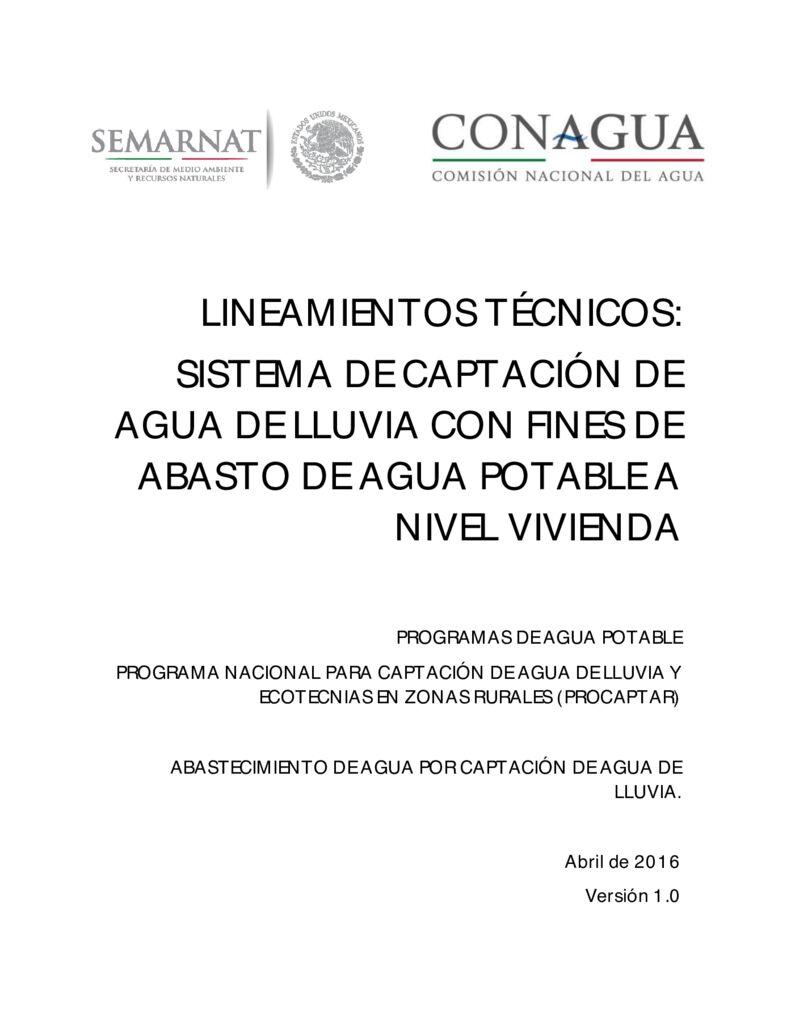 thumbnail of 2016. Lineamientos técnicos captación de agua de lluvia con fines de abasto de agua potable. CONAGUA